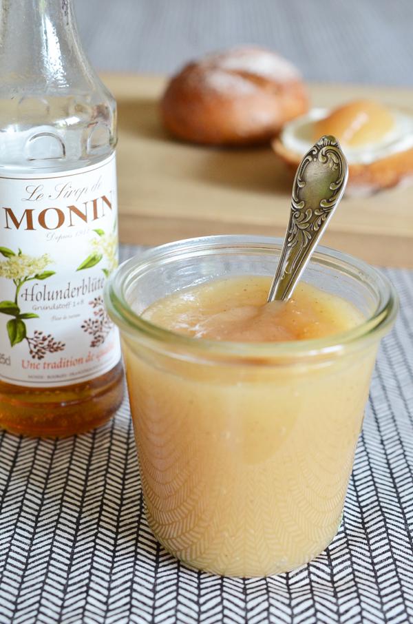 Rezept für Birnenkonfitüre mit Holunderblütensirup und Vanille