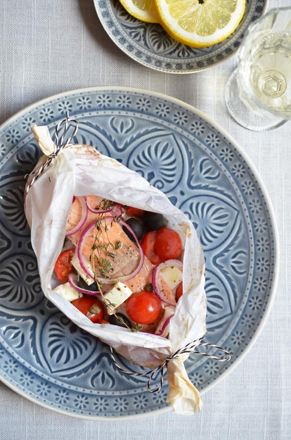 Lachs aus dem Ofen im Pergament-Päckchen