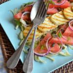 Wassermelonen-Fenchelsalat mit Haloumi (griechischer Grillkäse)