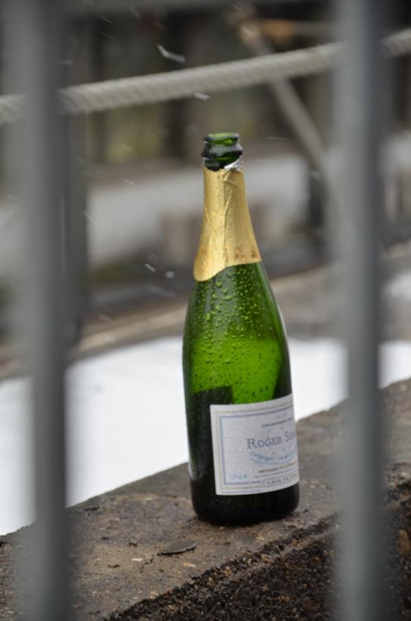 Sektflasche auf dem Düsseldorfer Tausendfüßler