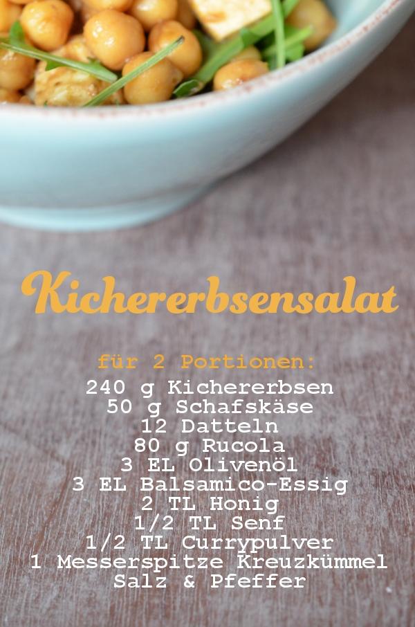 Rezept für Kichererbsensalat mit Datteln, Schafskäse und Rucola