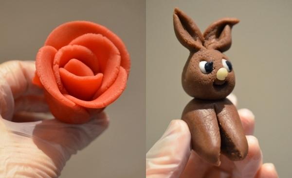 Marzipam-Tortendeko: Rose und Osterhase