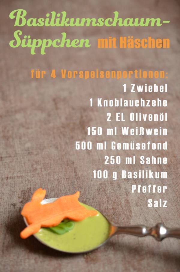 Rezept für das Ostermenü: Basilikumschaumsüppchen mit Möhren-Eimlage