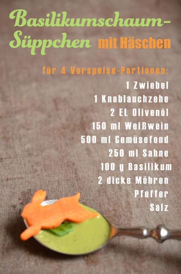 Zutaten für das Basilikumschaumsüppchen mit Möhren-Osterhasen-Einlage