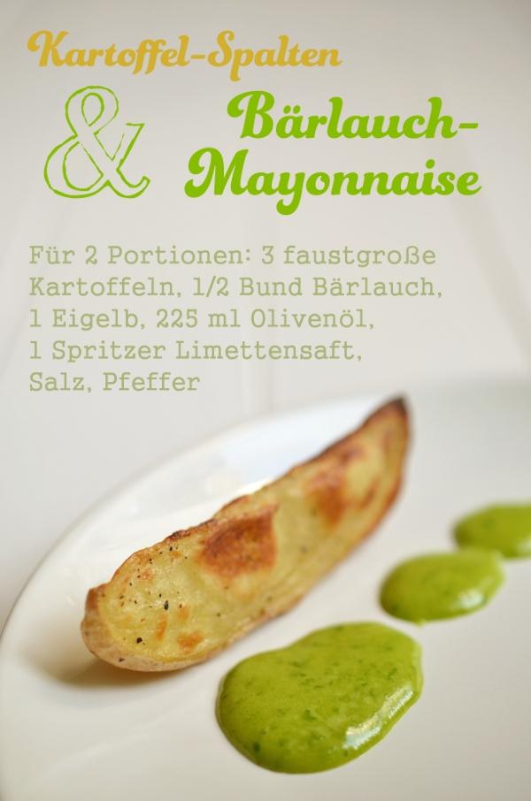 Rezept für Kartoffelspalten mit Bärlauchmayonnaise