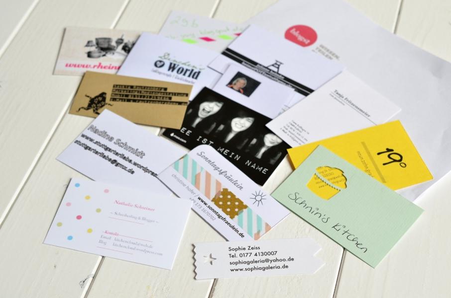 Visitenkarten der Teilnehmer am blogst Bloggerworkshop in Köln