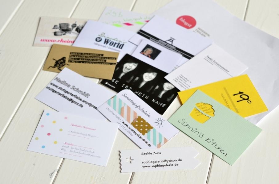 Bloggerworkshop blogst in Köln - Visitenkarten der Teilnehmer