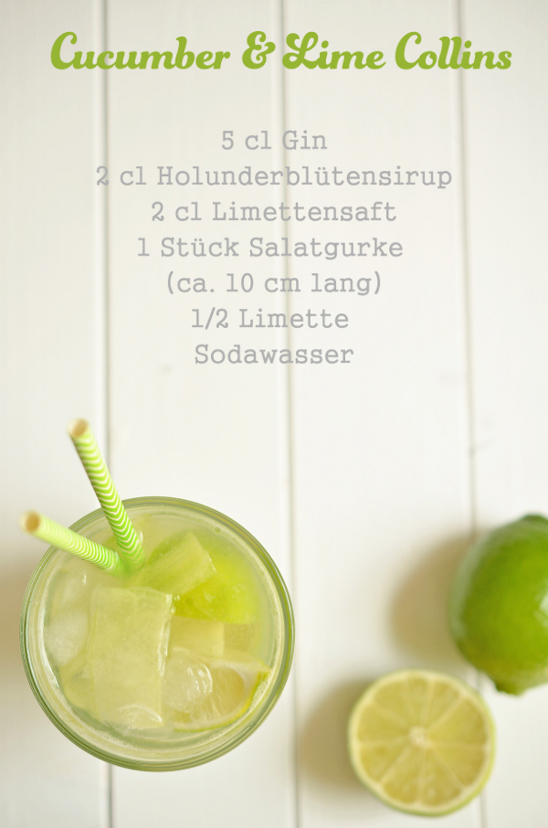 Cocktail-Rezept: Cucumber & Lime Collins mit Gurke und Limette