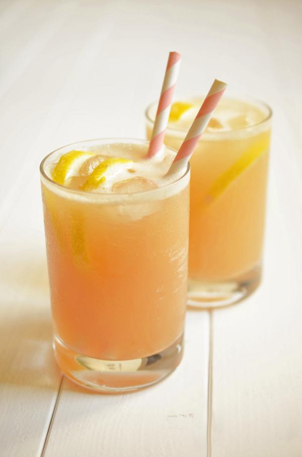 Cocktail: Rhubarb Fizz - eine Abwandllung des Gin Fizz mit Rabarbersirup