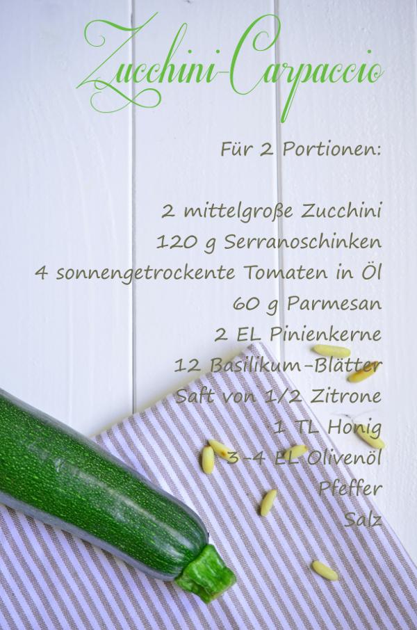 Rezept für Zucchini-Carpaccio mit Serranoschinken, getrockneten Tomaten, Pinienkernen, Parmesan und Basilikum