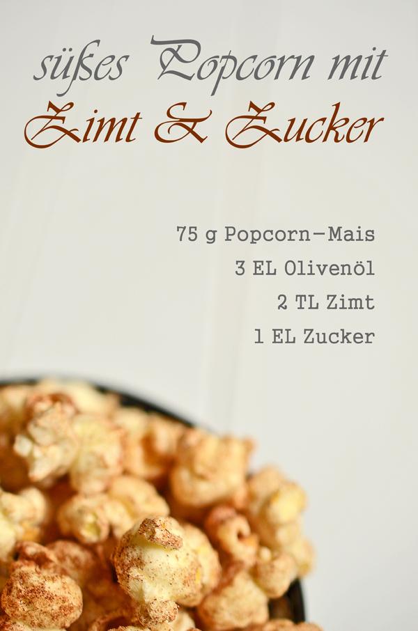 Rezept für süßes Popcorn mit Zimt und Zucker
