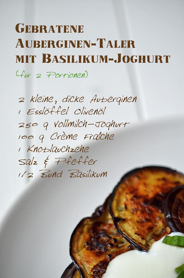 Rezept für gebratene Auberginen-Taler mit Basilikum-Joghurt