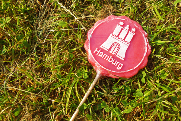 Lutscher: Lolli mit Hamburger Stadtwappen