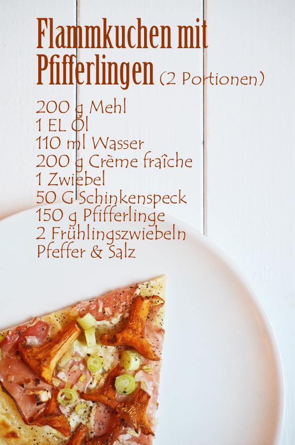 Rezept für Flammkuchen mit Pfifferlingen und Tiroler Speck
