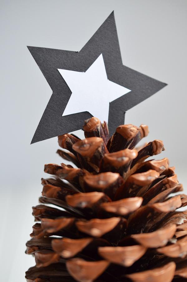 Schnelle Adventsdeko mit Tannenzapfen und Papierstern