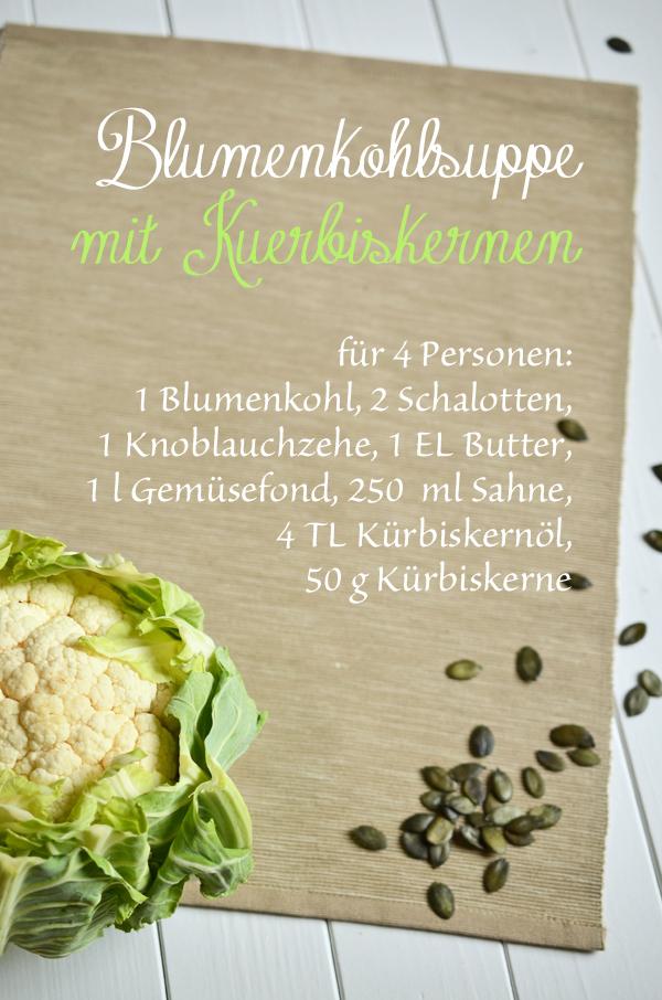 Rezept für Blumenkohlsuppe mit Kürbiskernen