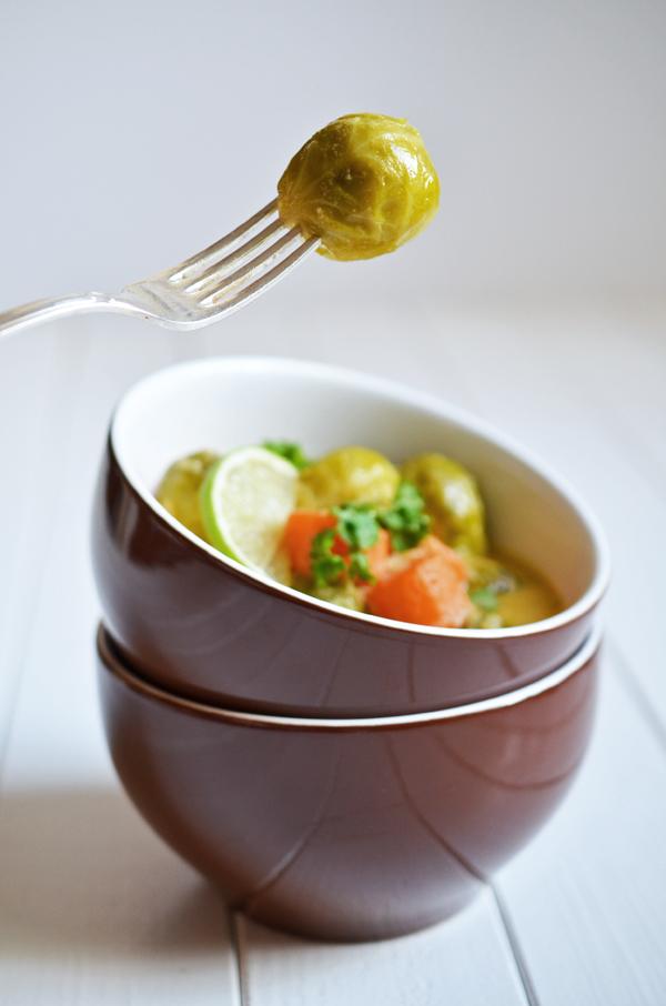 Rosenkohl-Möhrencurry mit aqufgespießtem Rosenkohl