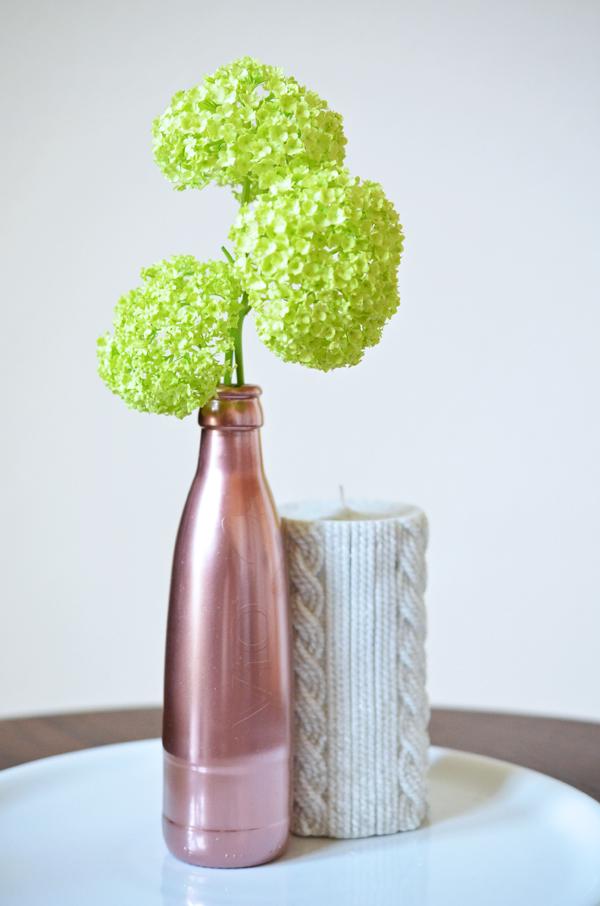 Kupfervase selbstgemacht aus Wasserflasch (DIY, Upcycling)