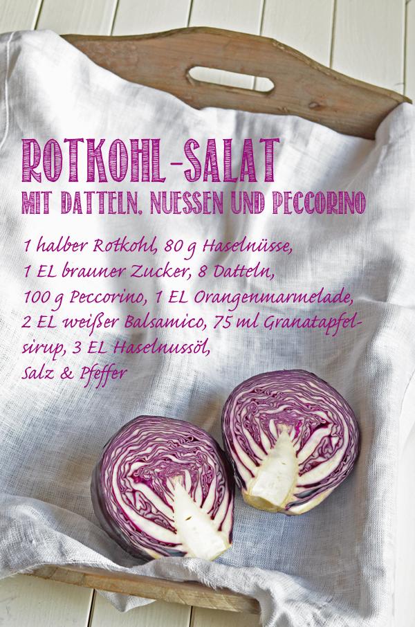 Rezept für Rotkohlsalat mit Datteln, Nüssen und Peccorino