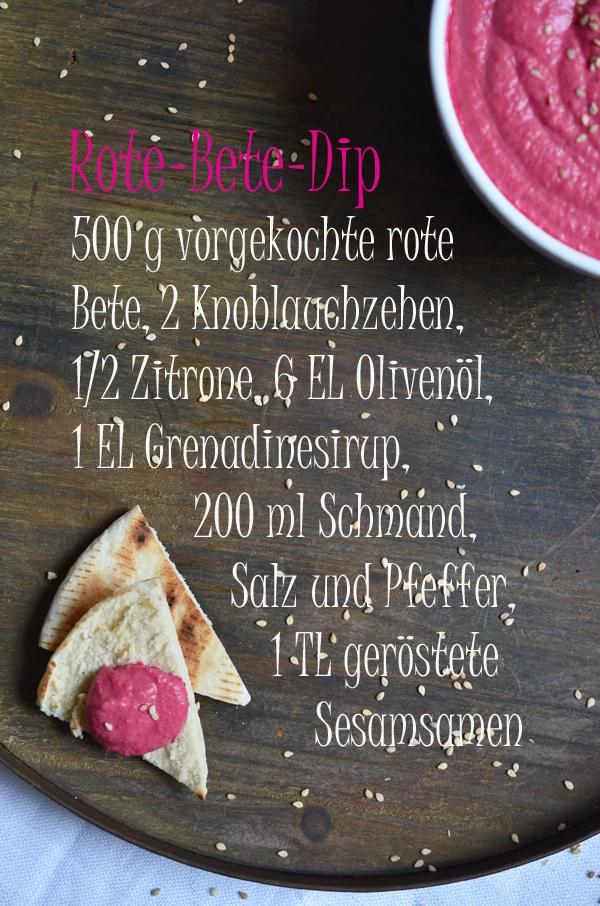 Rezept für Rote-Bete-Dip mit geröstetem Pitabrot