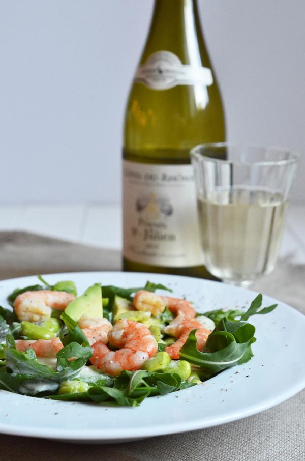 Sommersalat mit Garnelen und Zitronendressing