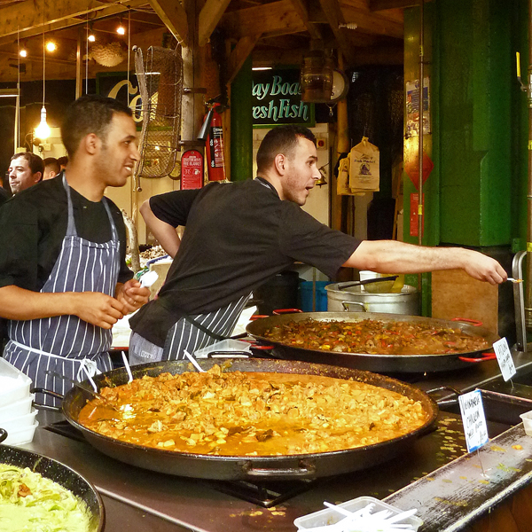 Curry-Stand auf dem Londonder Borough Market