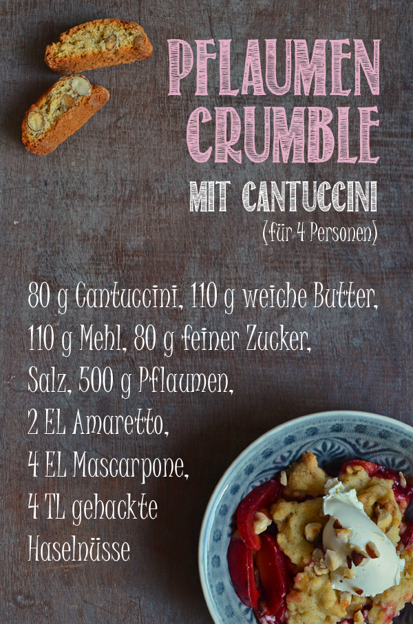Rezept für Pflaumen-Crumble mit Cantucccini-Streuseln