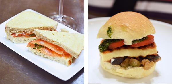 Streetfood: Graved-Lachs-Sandwich und Haloumi-Burger