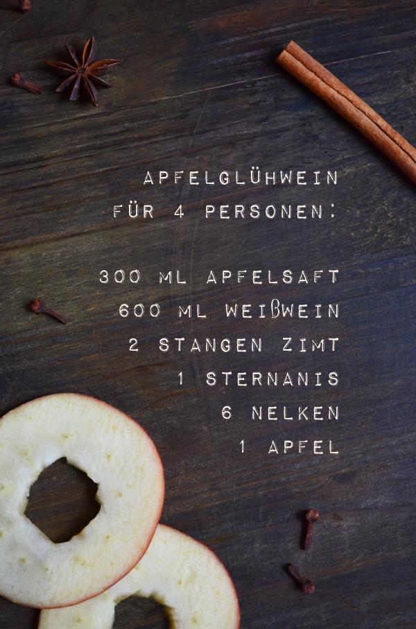 Rezept für Apfelglühwein (mit einem Schuss Calvados wird darau ein Apfelpunsch)