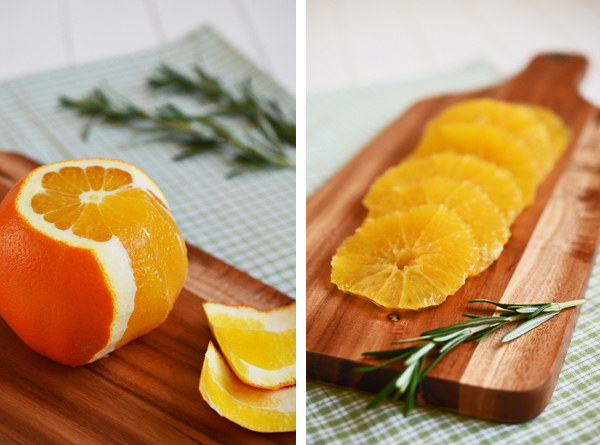 Vorbereitung für das Orangen-Carpaccio mit Rosmarin