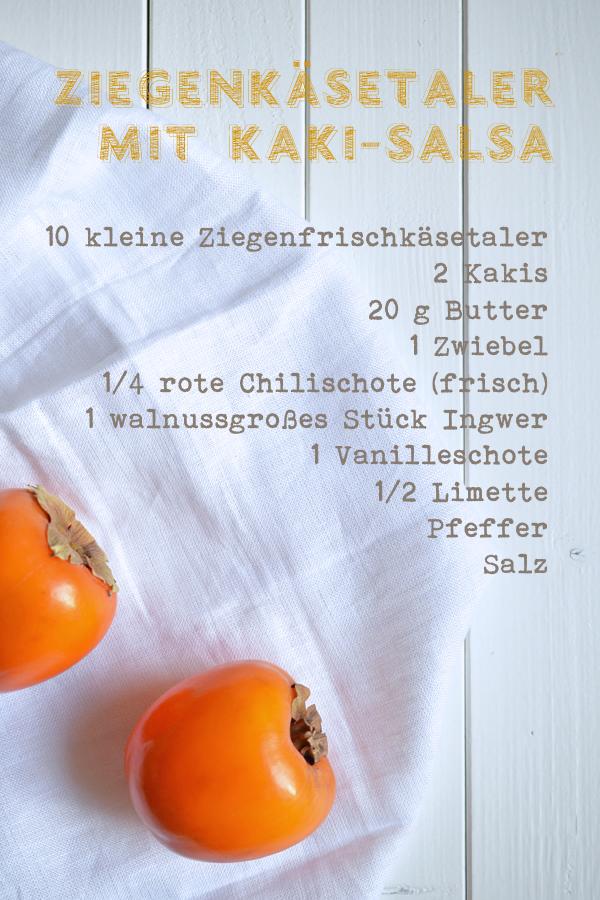 Rezept für Kakisalsa (an Ziegenfrischkäsetaler)