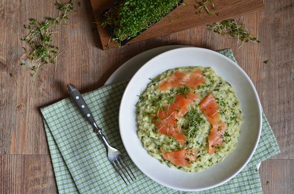Kräuterrisotto mit Lachs: EIne tolle Vorspeise für den Frühling