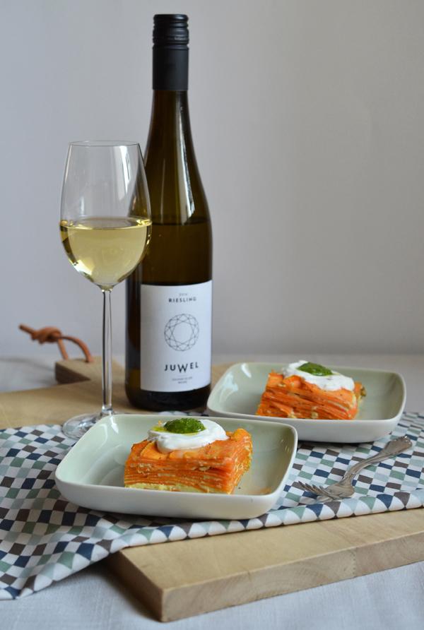 Süßkartoffel-Tortilla mit Riwsling Juwel von Weingut Eller