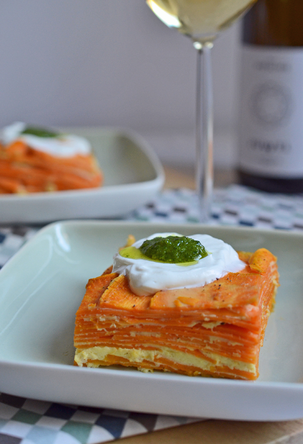 Ein tapas-Traum: Süßkartoffel-Tortilla mit Ziegenfrischkäse und Pesto