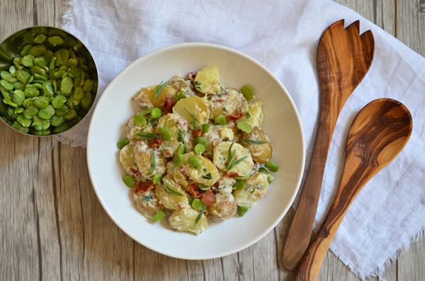 Kartoffelsalat mit Dicken Bohnen, Bacon und Estragon