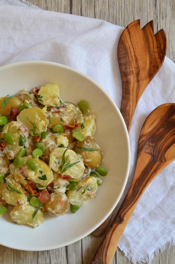 Feiner Kartoffelsalat mit Bacon, Grünen Bohnen und Estragon