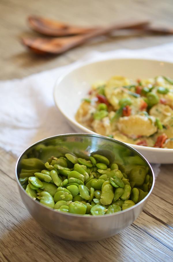 Kartoffelsalat für Feinschmecker - mit Dicken Bohnen, Bacon und Estragon