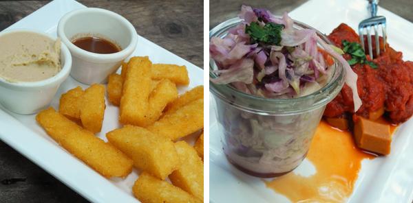 Polenta-Pommes und vegetarische Currywurst im Düsseldofer Restaurant SchnellVeg